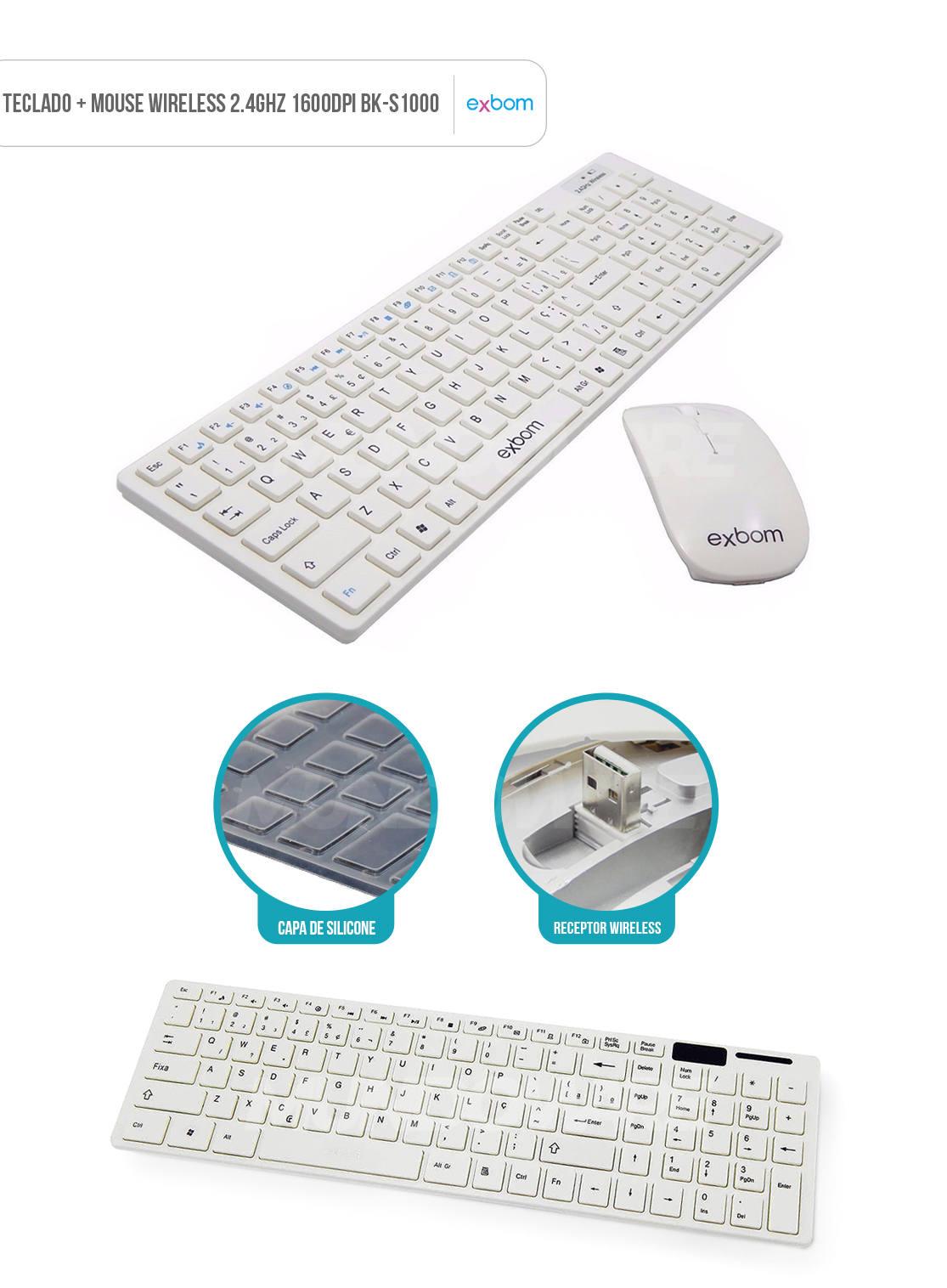 kit combo teclado e mouse sem fio wireless