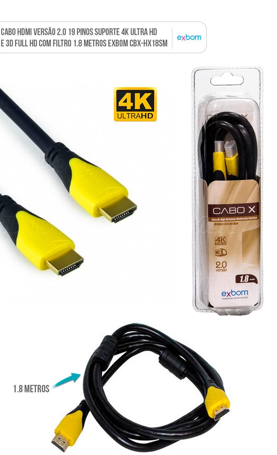 Cabo HDMI versão 2.0 com 19pin suporte 4K UHD e 3D 1.8m