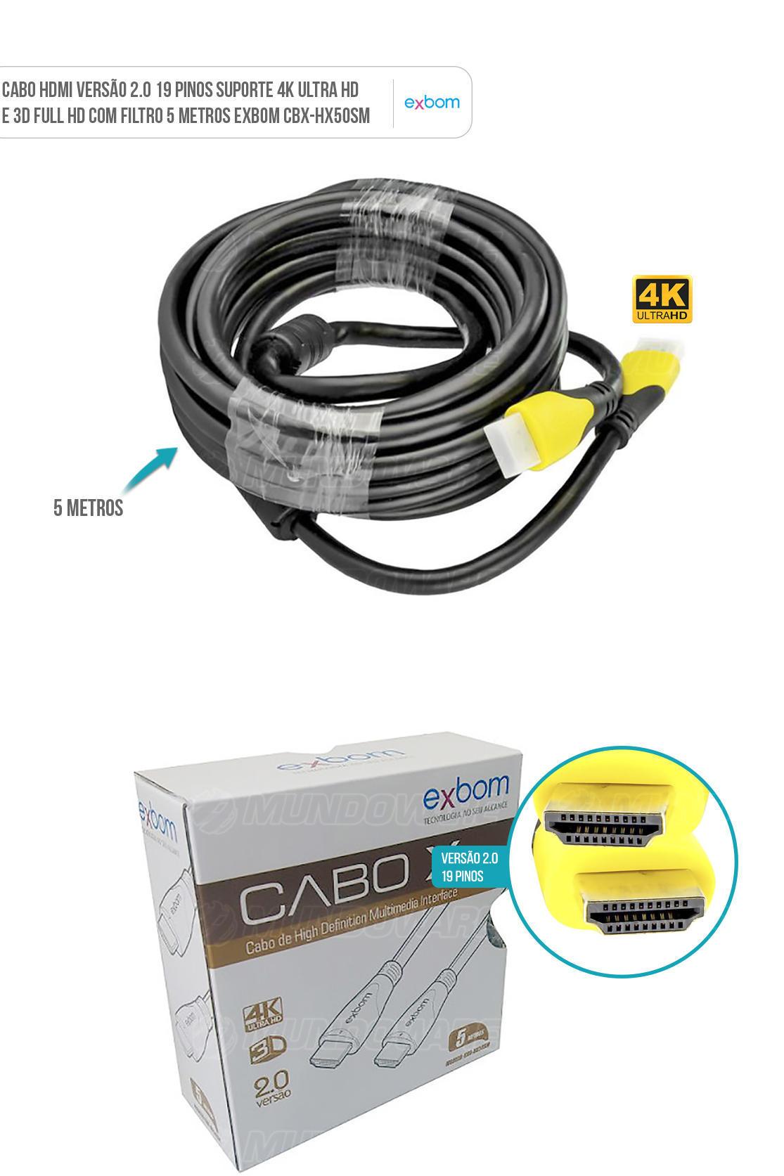 Cabo HDMI versão 2.0 com 19pin suporte 4K UHD e 3D 5m