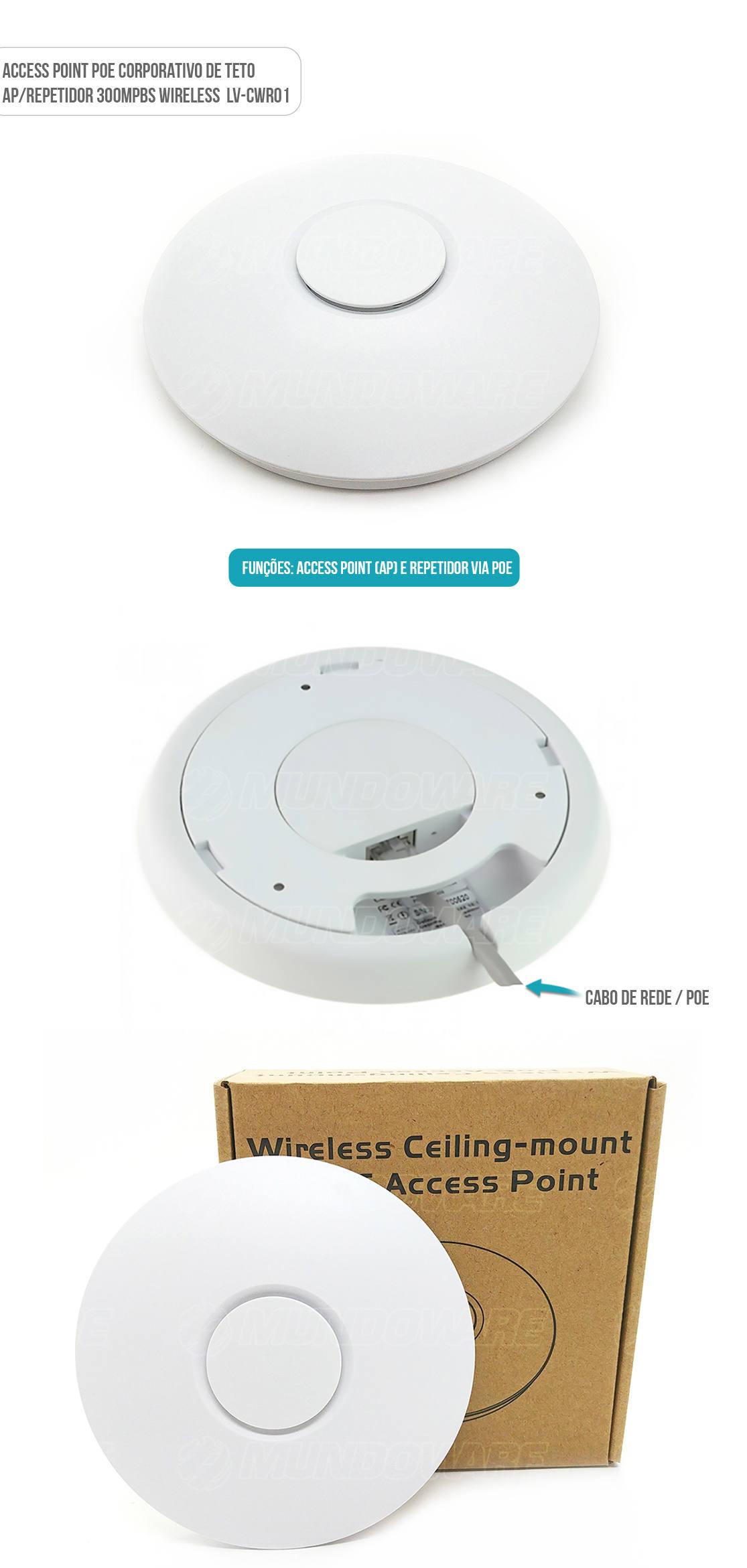 Access Point Corporativo de Teto 300Mpbs Wireless POE