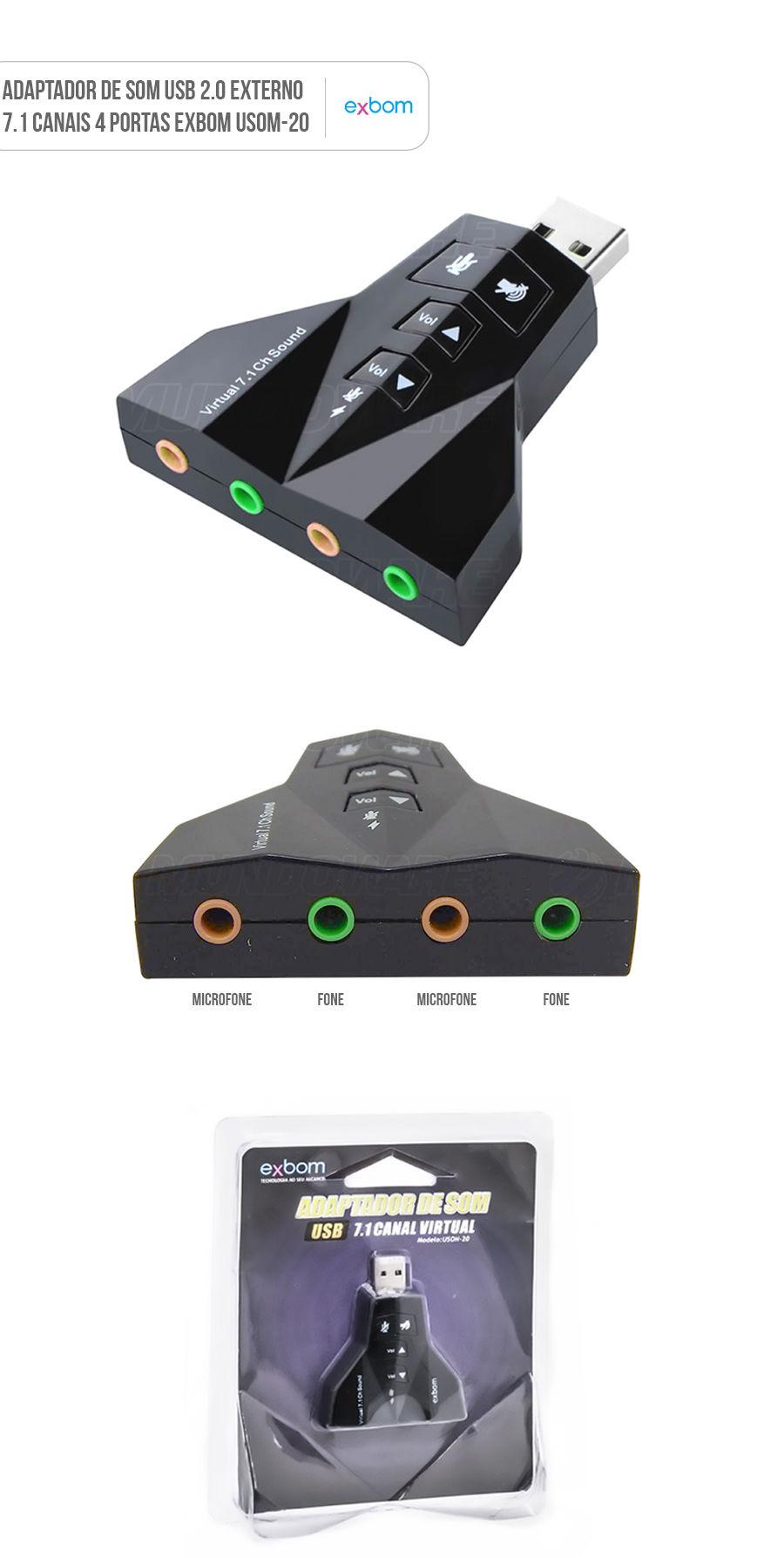 Placa de som usb adaptador audio sem driver 4 portas 7.1 canais