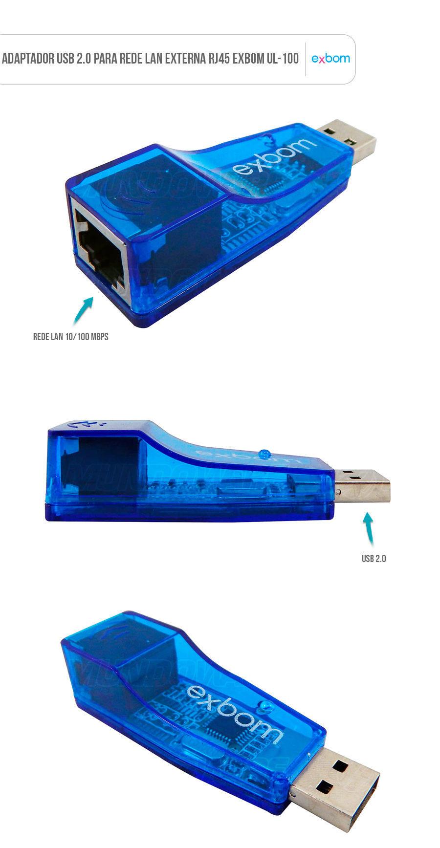 Adaptador USB 2.0 para Rede Externa LAN RJ45 Exbom UL-100