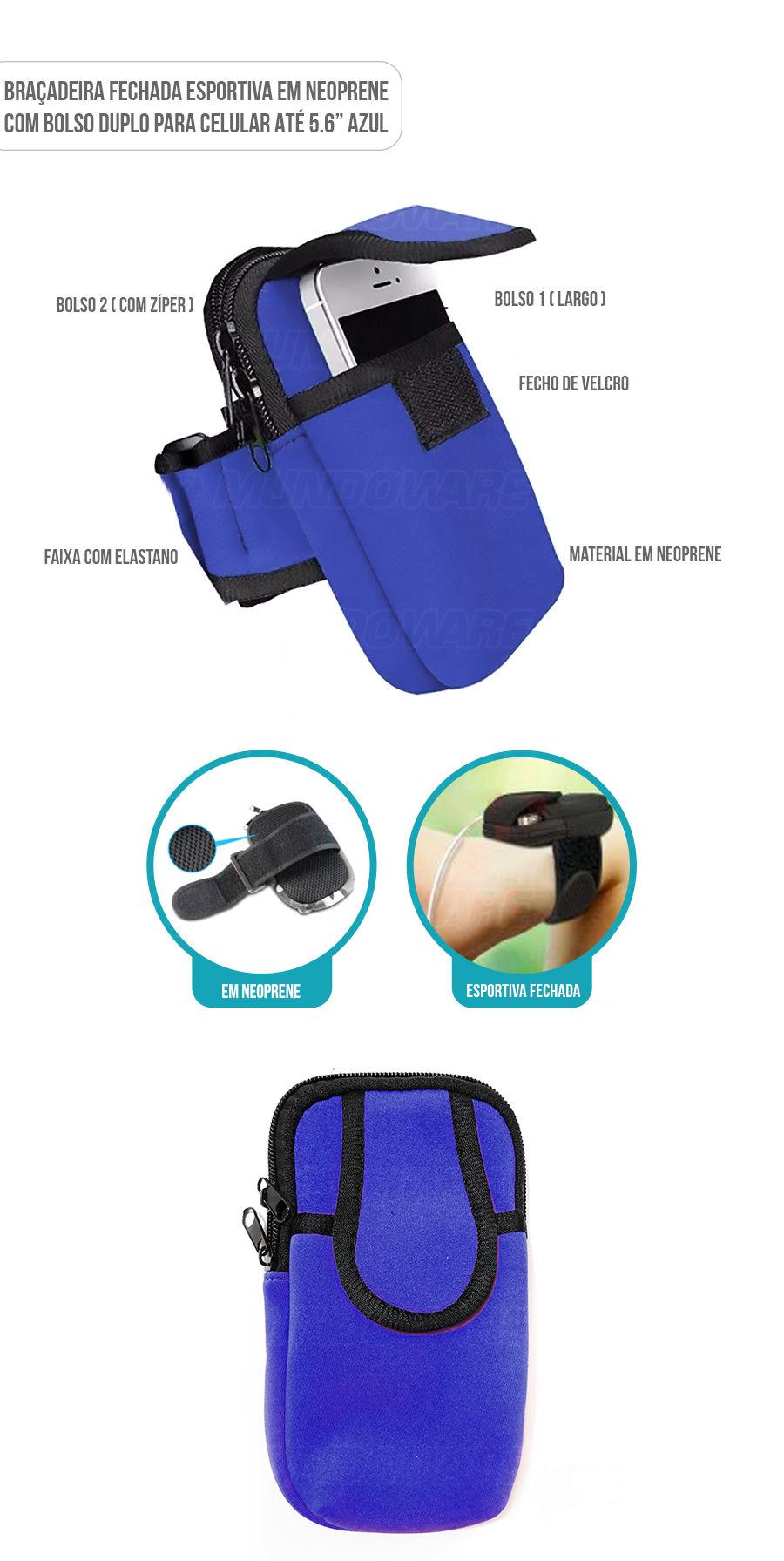 Braçadeira Porta Celular para corrida em neoprene com bolso duplo Azul