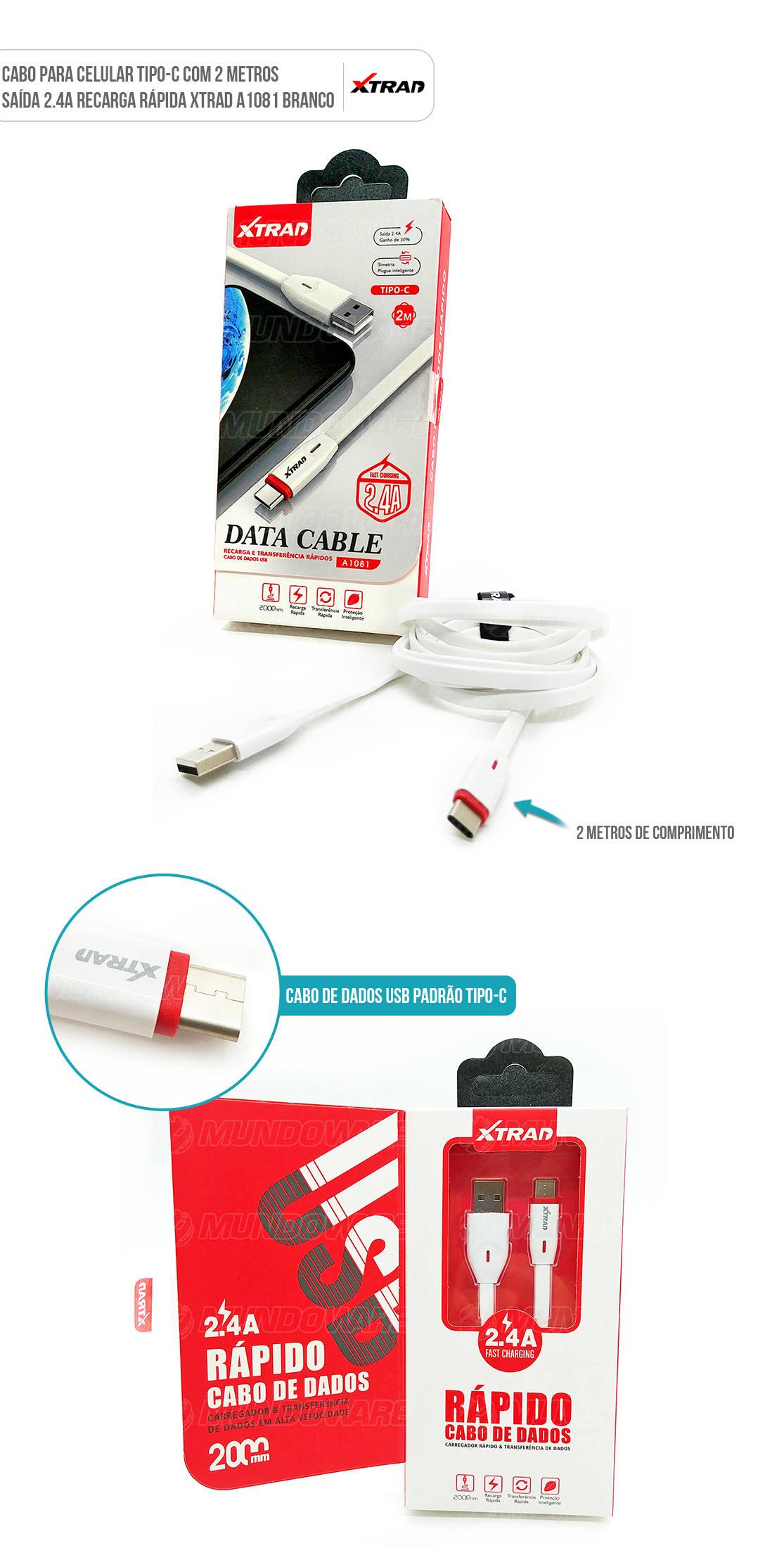 Cabo usb Tipo-C 2 metros 2.4A branco para celular