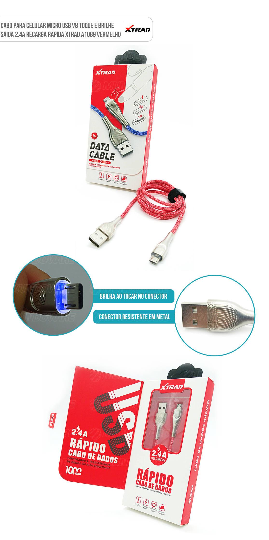 Cabo micro usb v8 Vermelho para celular com conector em metal e brilha ao tocar