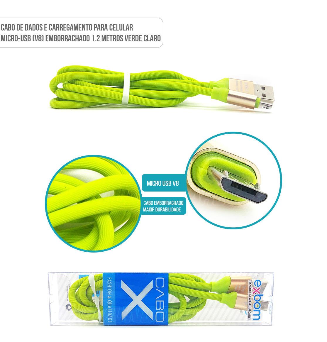 Cabo de dados para celular micro usb v8 emborrachado cor Verde Claro