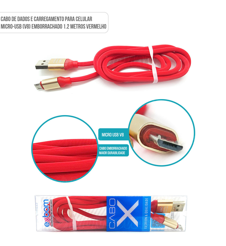 Cabo de dados para celular micro usb v8 emborrachado cor vermelha
