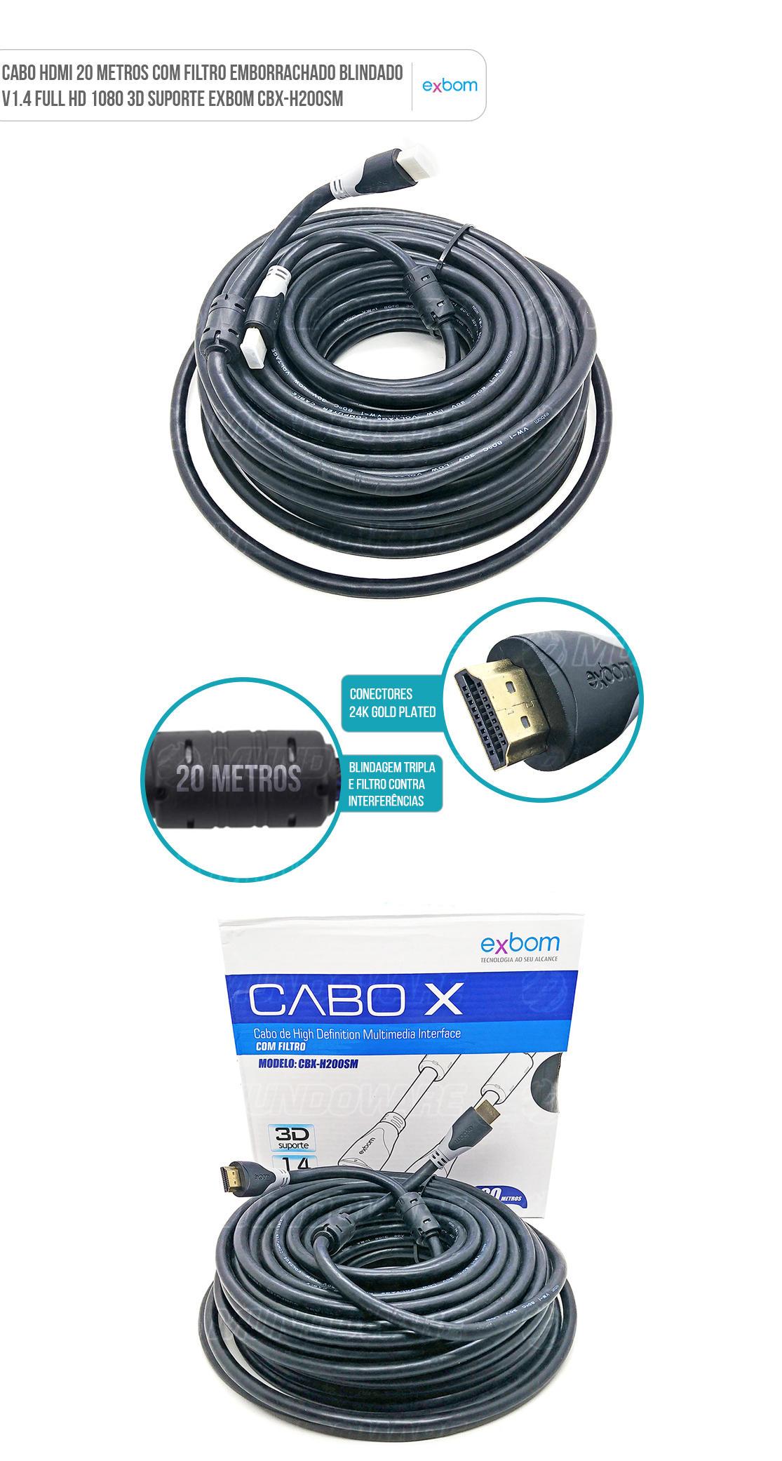 Cabo HDMI MachoxMacho 20 metros com Filtro Emborrachado Blindado v1.4 Full HD 1080 3D