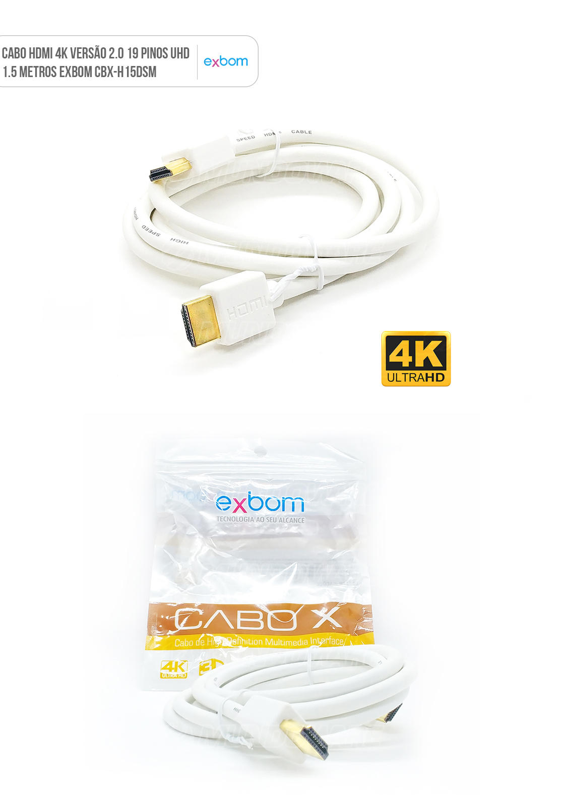 Cabo 4K HDMI versão 2.0 com 19pin suporte UHD e 3D 1.5m