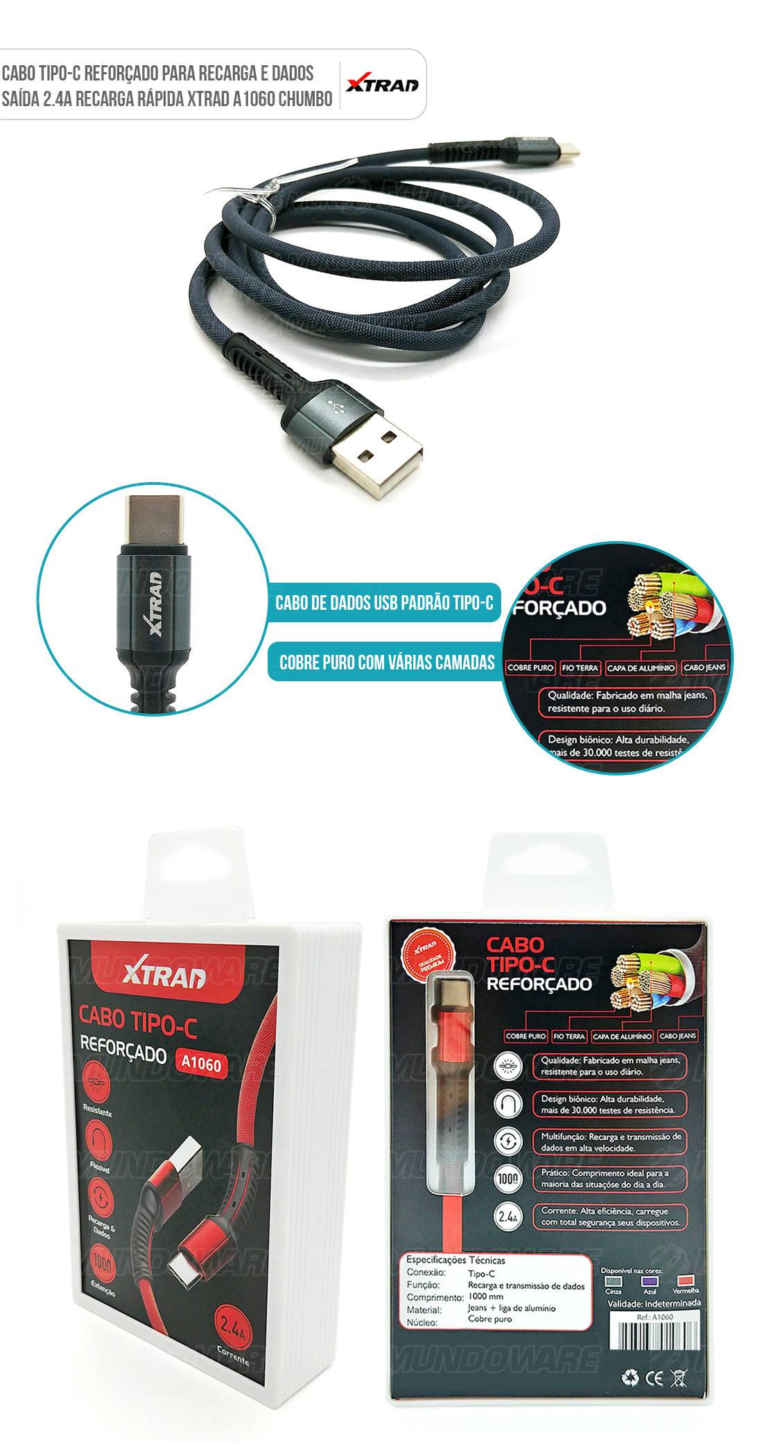 Cabo USB Tipo-C Reforçado para celular com conector em metal resistente e cobre puro interno e capa dupla 1 metro chumbo