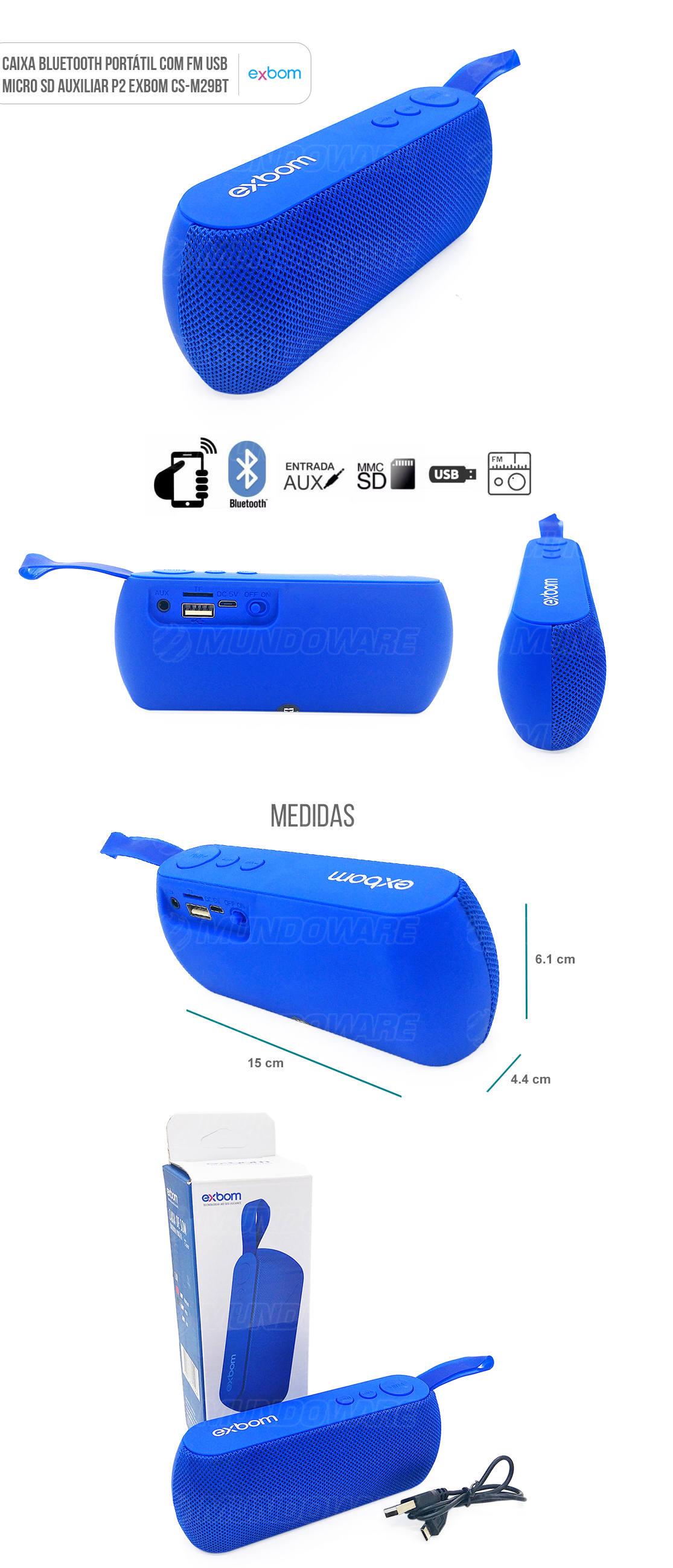 Caixa Portátil Bluetooth 3W com Entrada Auxiliar Cartão SD USB Rádio FM Azul