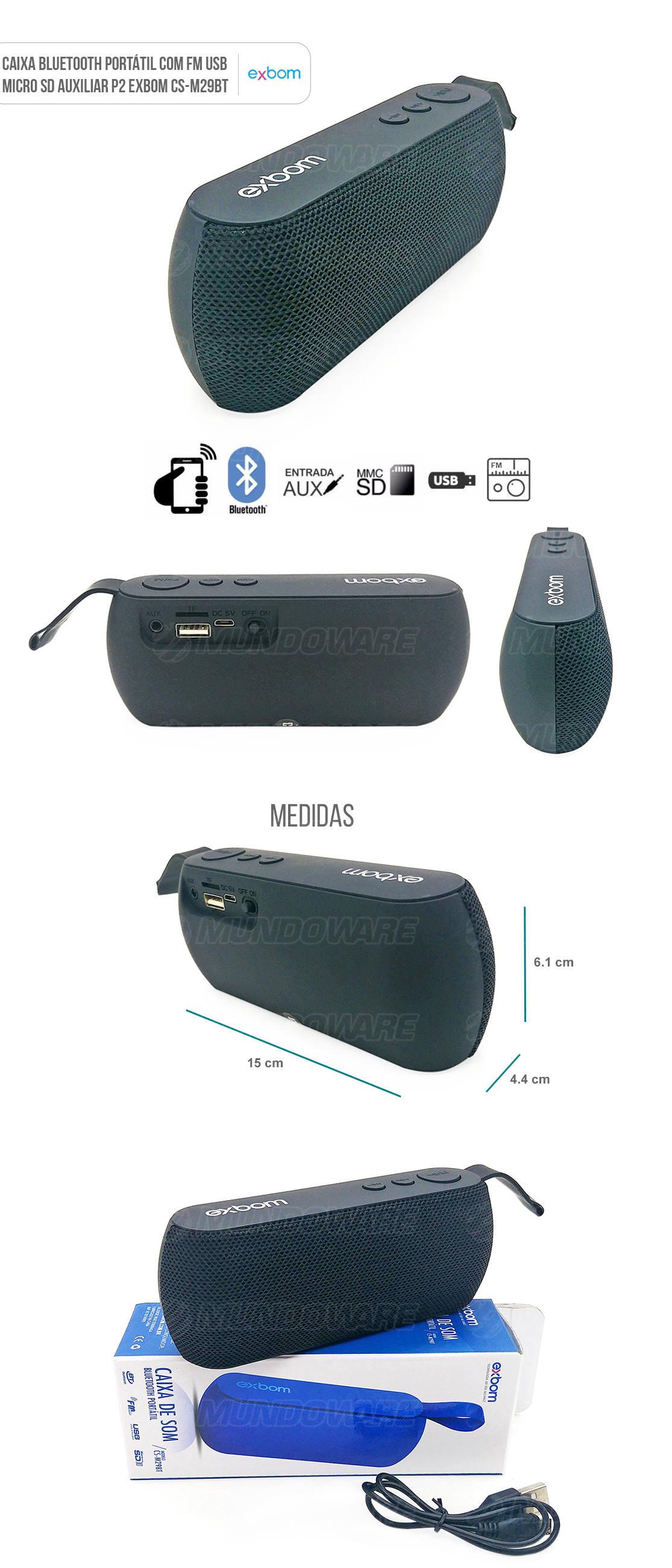 Caixa Portátil Bluetooth 3W com Entrada Auxiliar Cartão SD USB Rádio FM Preta