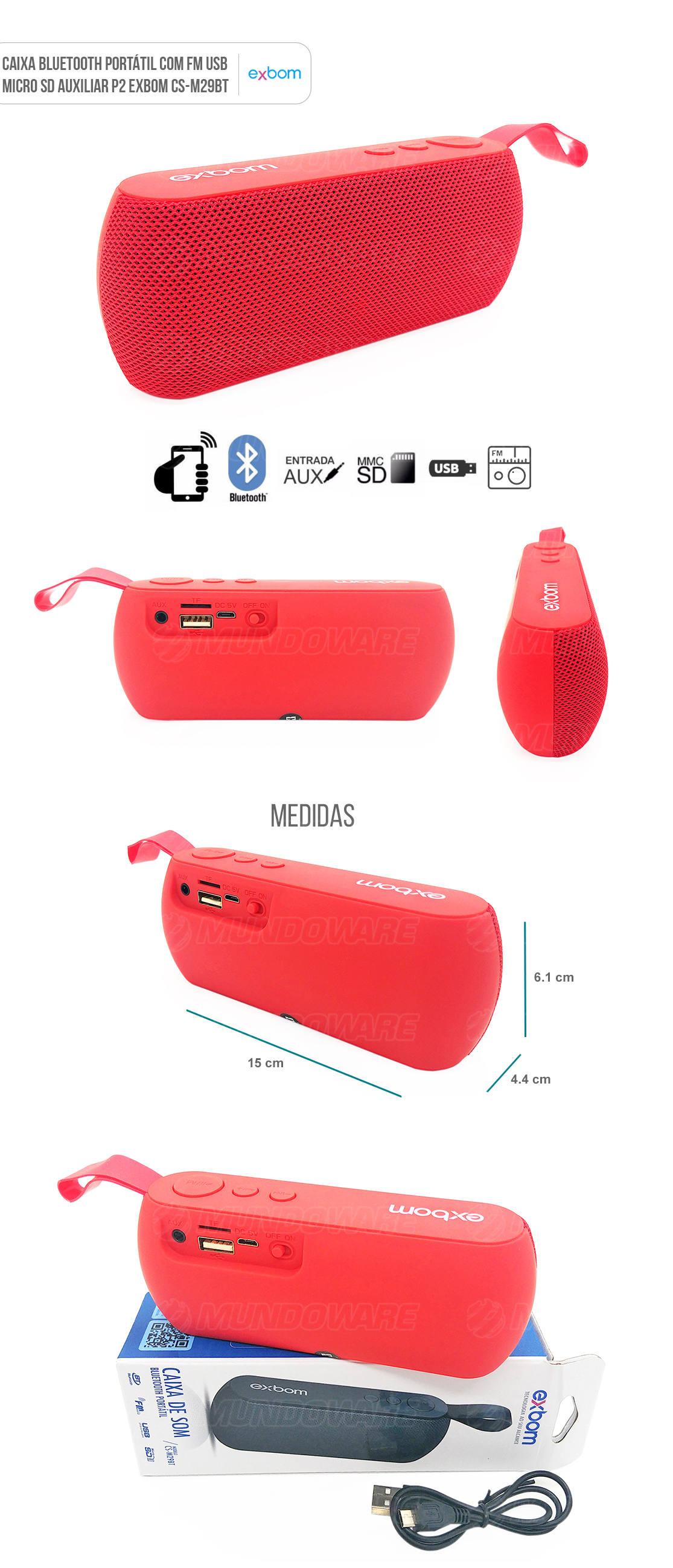 Caixa Portátil Bluetooth 3W com Entrada Auxiliar Cartão SD USB Rádio FM Vermelha