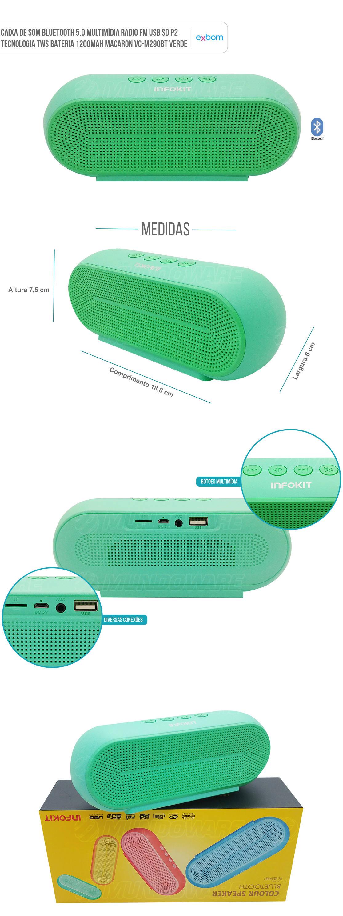 Caixa Portátil Bluetooth FM USB SD P2 Tecnologia TWS Macaron Infokit