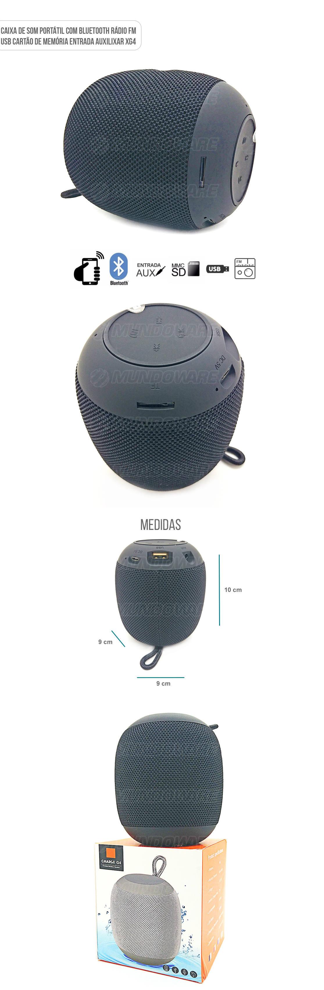 Caixa de Som Portátil 3W com Entrada Auxiliar Cartão SD USB Rádio FM Preta
