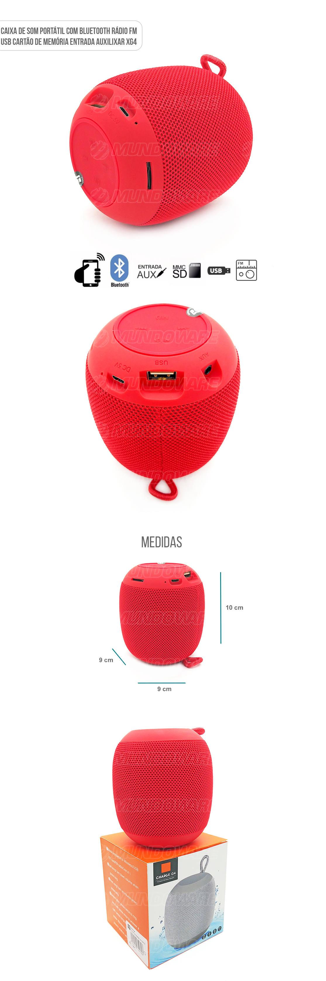 Caixa de Som Portátil 3W com Entrada Auxiliar Cartão SD USB Rádio FM Vermelha