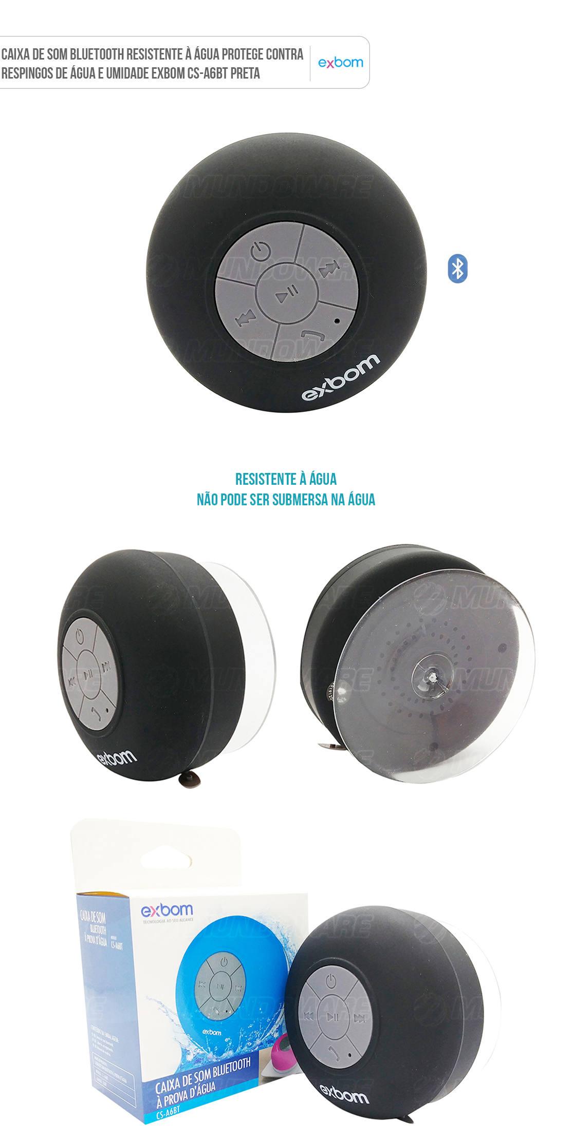 Caixa Bluetooth Resistente à Água Microfone Embutido Ventosa ultra resistente