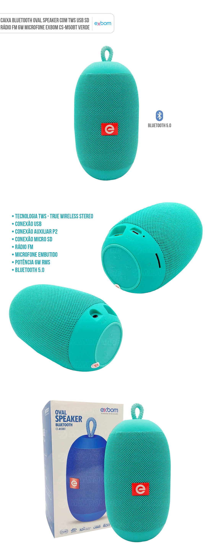 Caixa de Som Portátil Bluetooth Oval Speaker com TWS USB SD Rádio FM 6W Mic