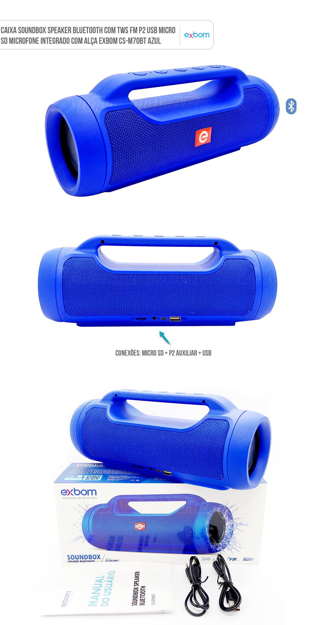 Caixa Portátil Soundbox Speaker Bluetooth com TWS FM P2 USB Micro SD Microfone