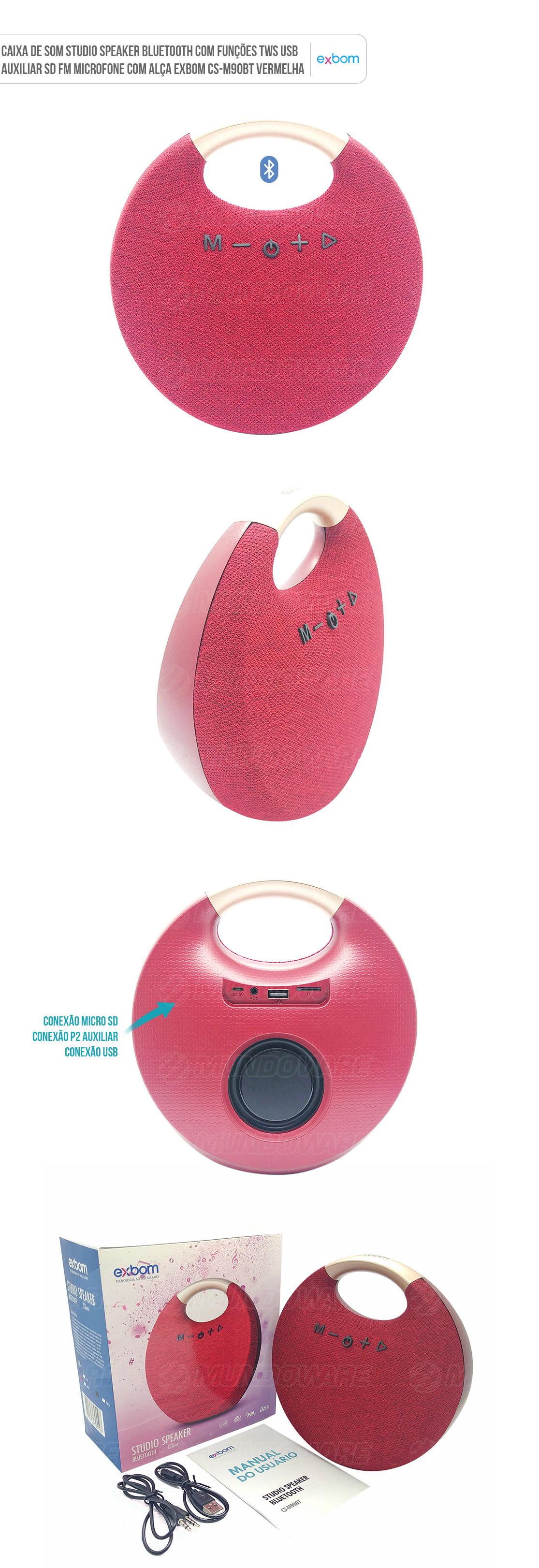 Caixa Studio Speaker Bluetooth com Funções TWS USB Auxiliar SD FM Microfone com Alça