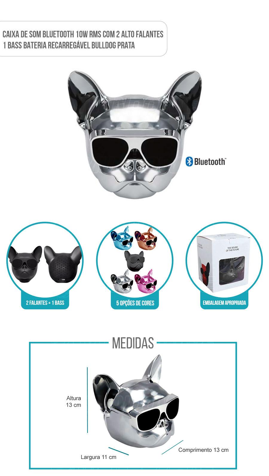 Caixa de Som Portátil com Bluetooth 10W RMS Bulldog Prata