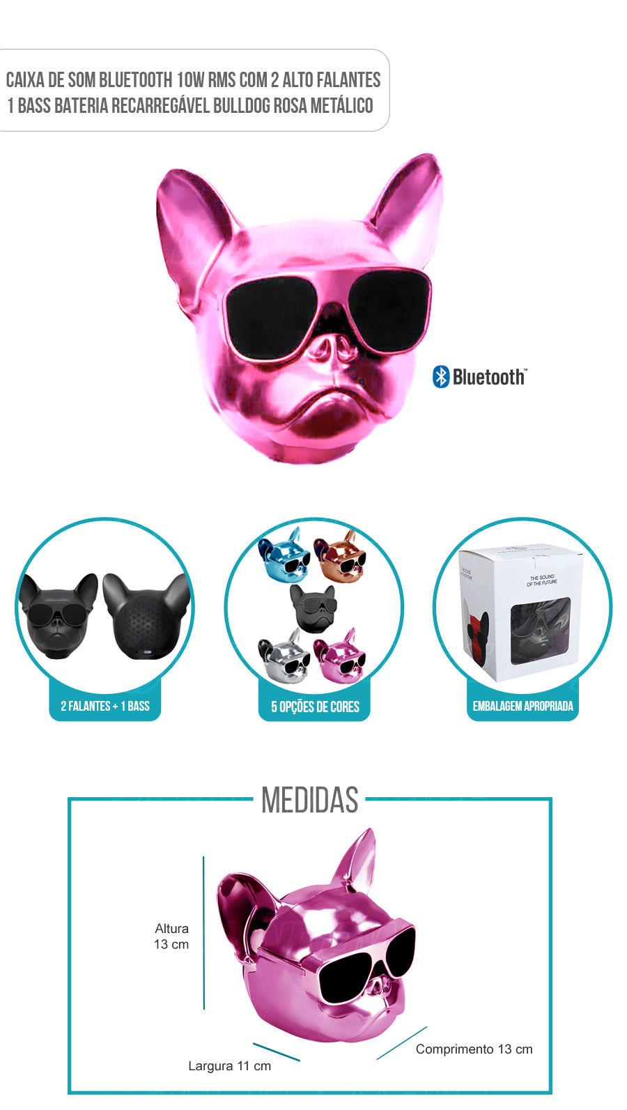 Caixa de Som Portátil com Bluetooth 10W RMS Bulldog Pink Rosa Metálico