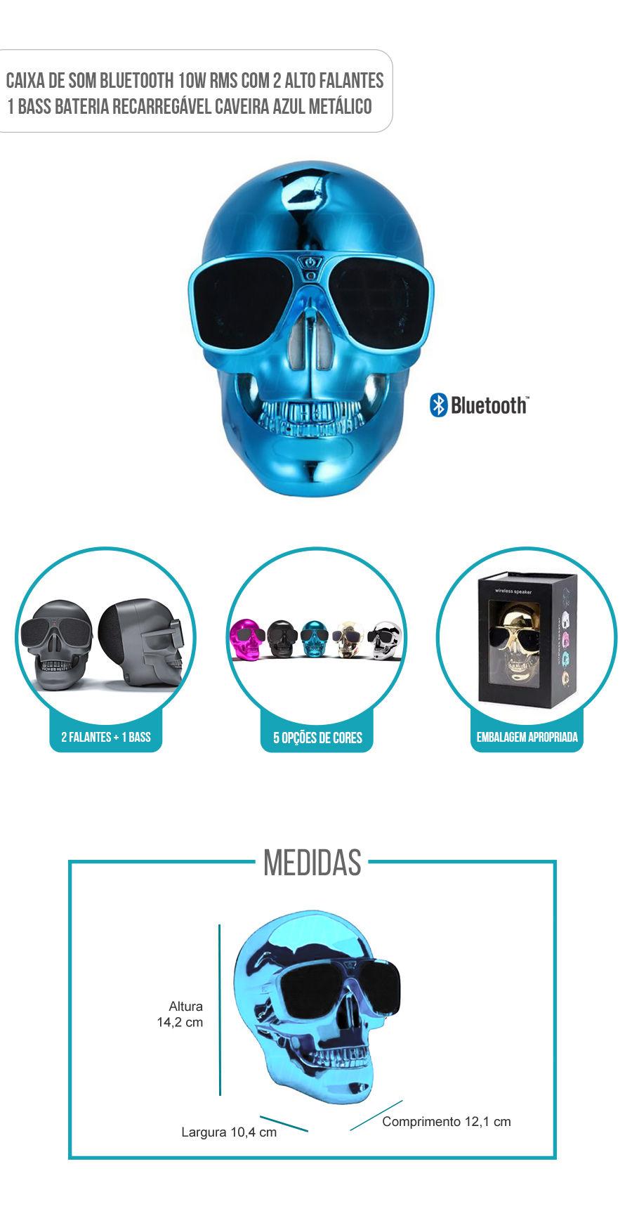 Caixa de Som Portátil com Bluetooth 10W RMS Skull Caveira Azul Metálico