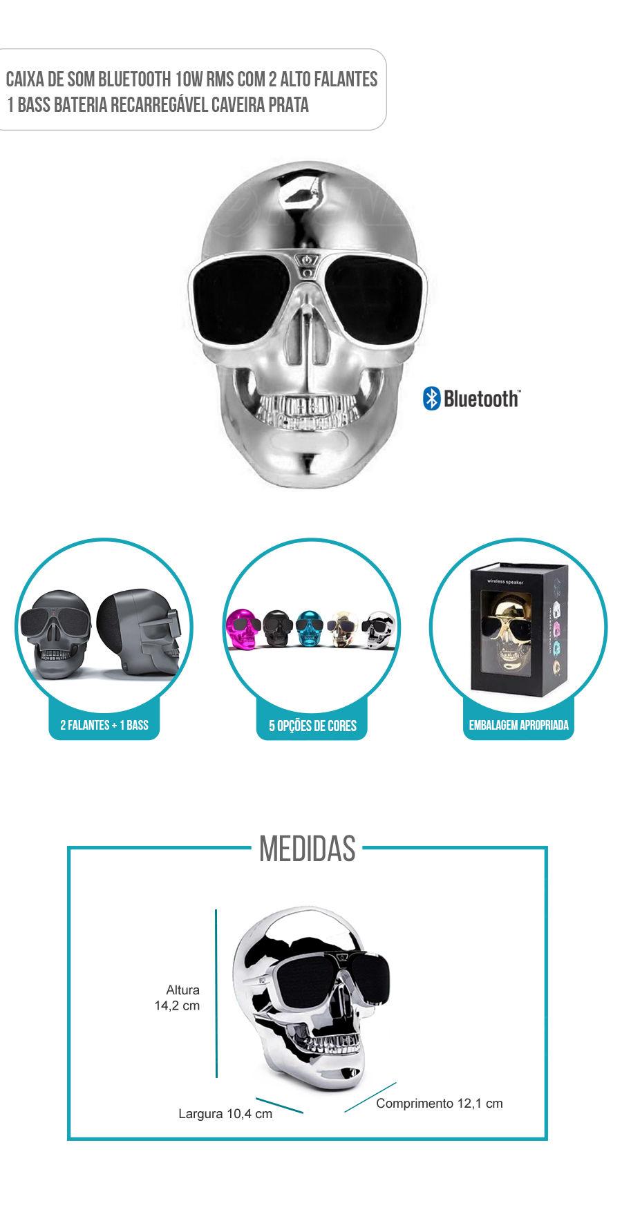 Caixa de Som Portátil com Bluetooth 10W RMS Skull Caveira Prata