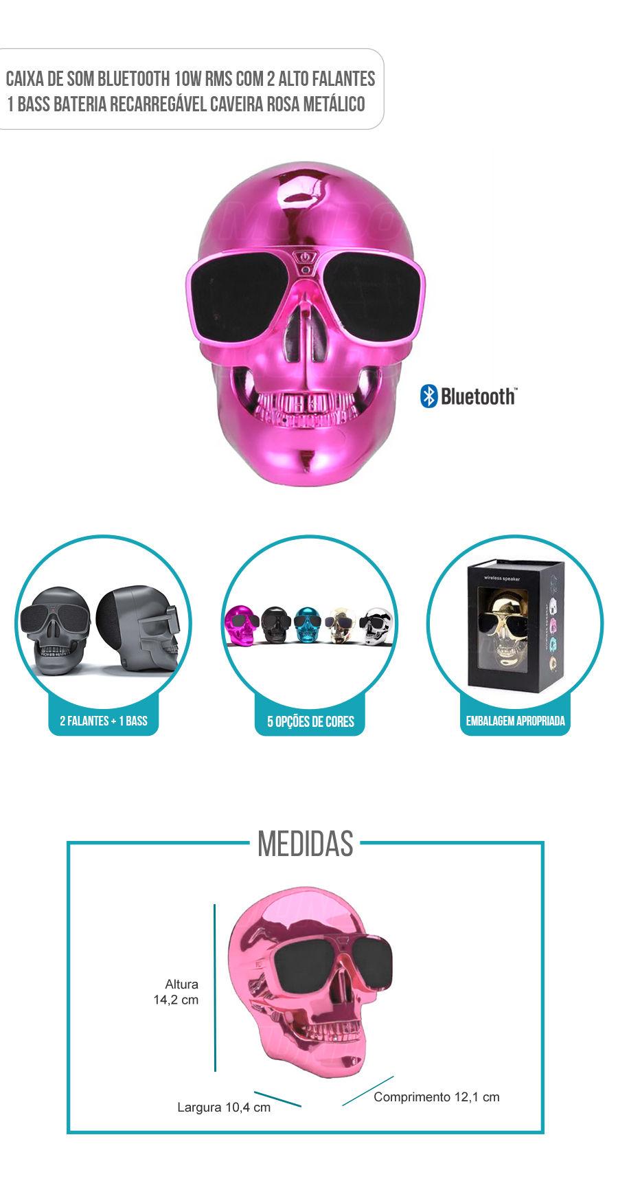 Caixa de Som Portátil com Bluetooth 10W RMS Skull Caveira Rosa Metálico