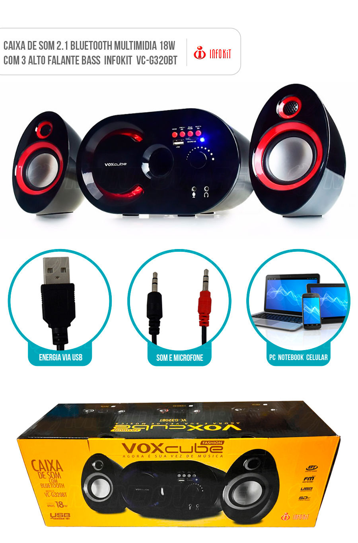 Caixa de Som 2.1 Multimídia Bluetooth 18W com FM Entrada SD USB Auxiliar Infokit VC-G320BT Preta e Vermelha