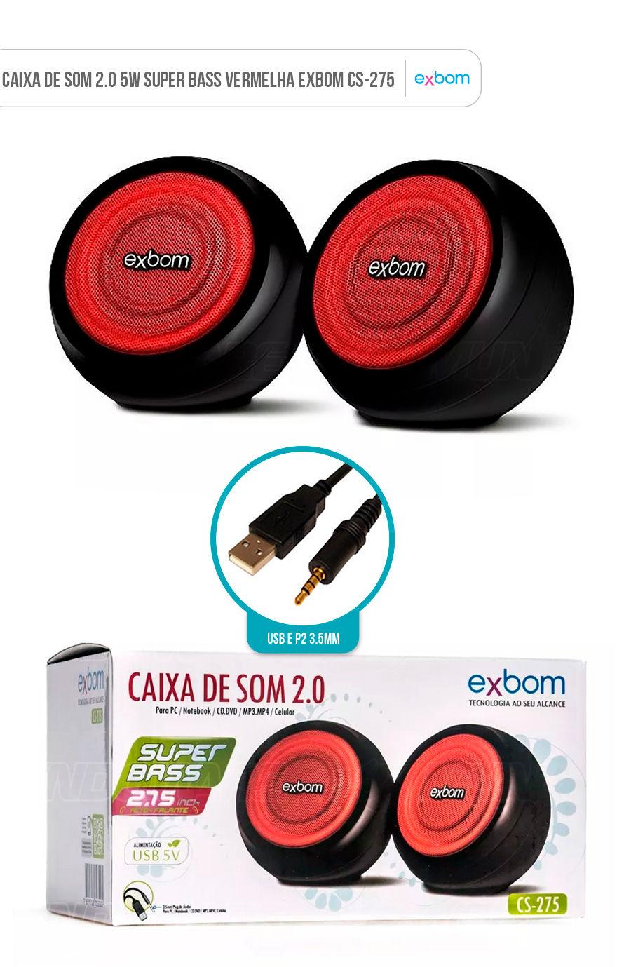 Caixa de Som Super Bass para Computador e Notebook Preta e Vermelha