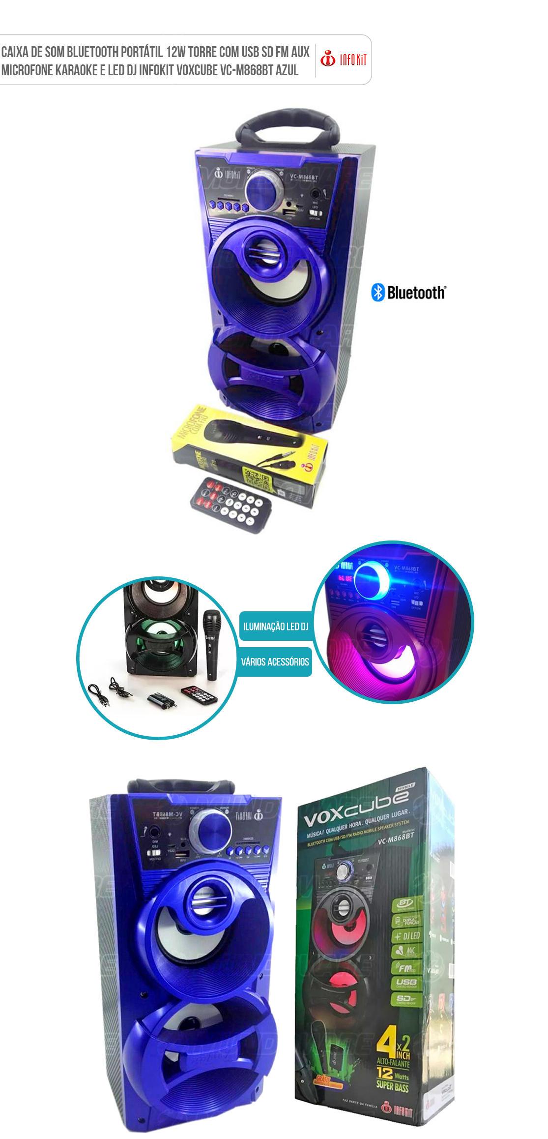 Caixa Bluetooth Mobile com Radio FM função Karaoke entrada SD Card Pendrive P2 Voxcube VC-M868BT Azul