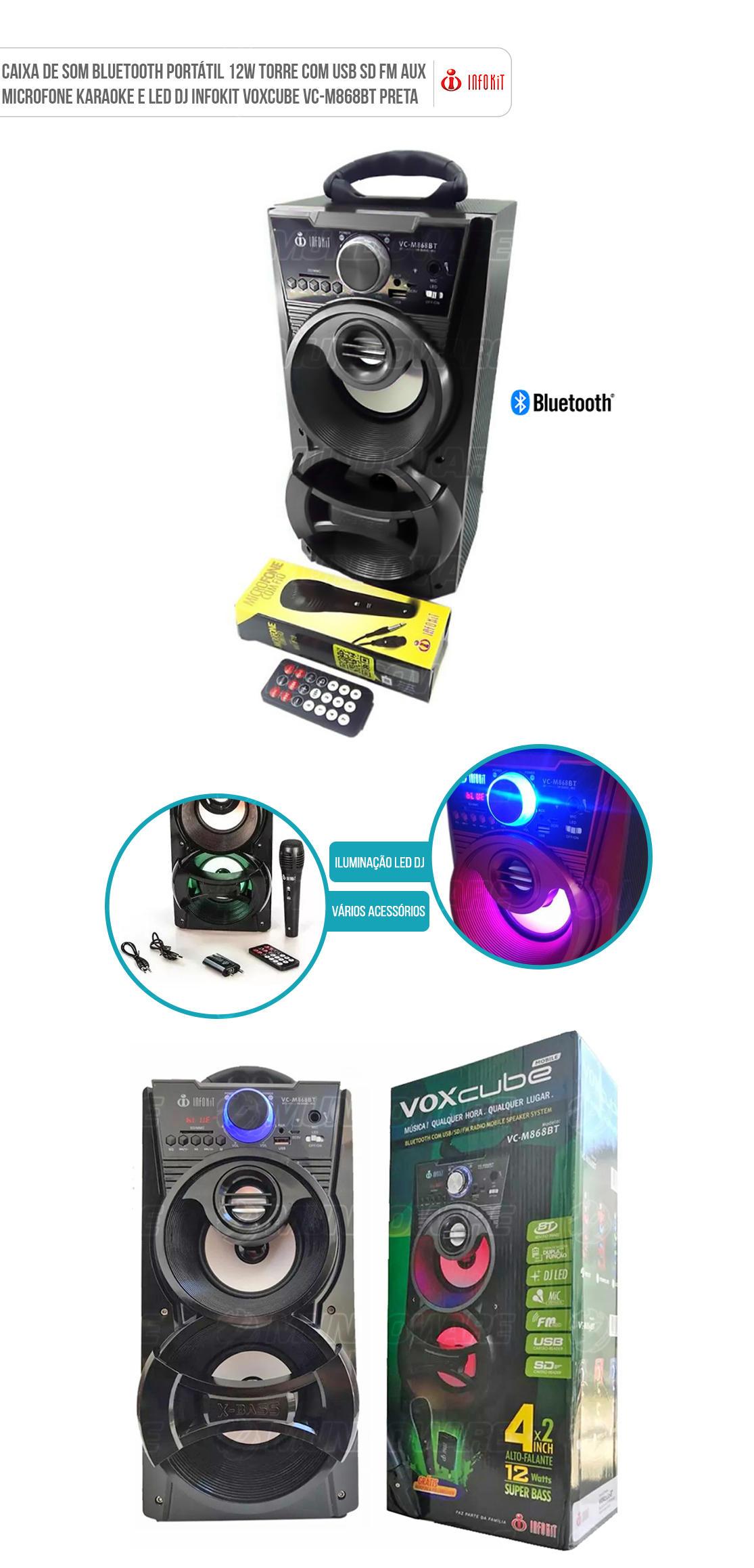 Caixa Bluetooth Mobile com Radio FM função Karaoke entrada SD Card Pendrive P2 Voxcube VC-M868BT Preta