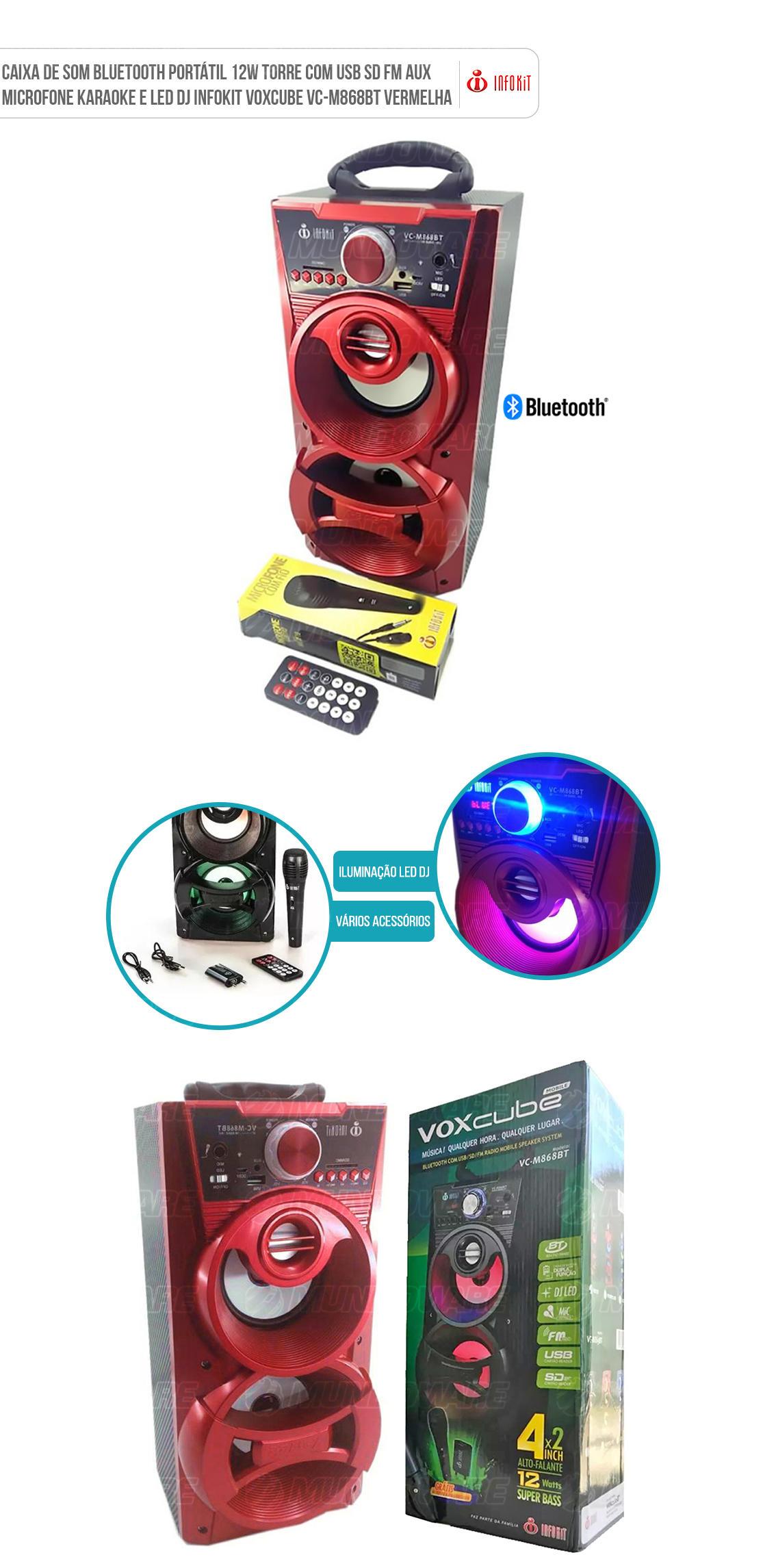 Caixa Bluetooth Mobile com Radio FM função Karaoke entrada SD Card Pendrive P2 Voxcube VC-M868BT Vermelho
