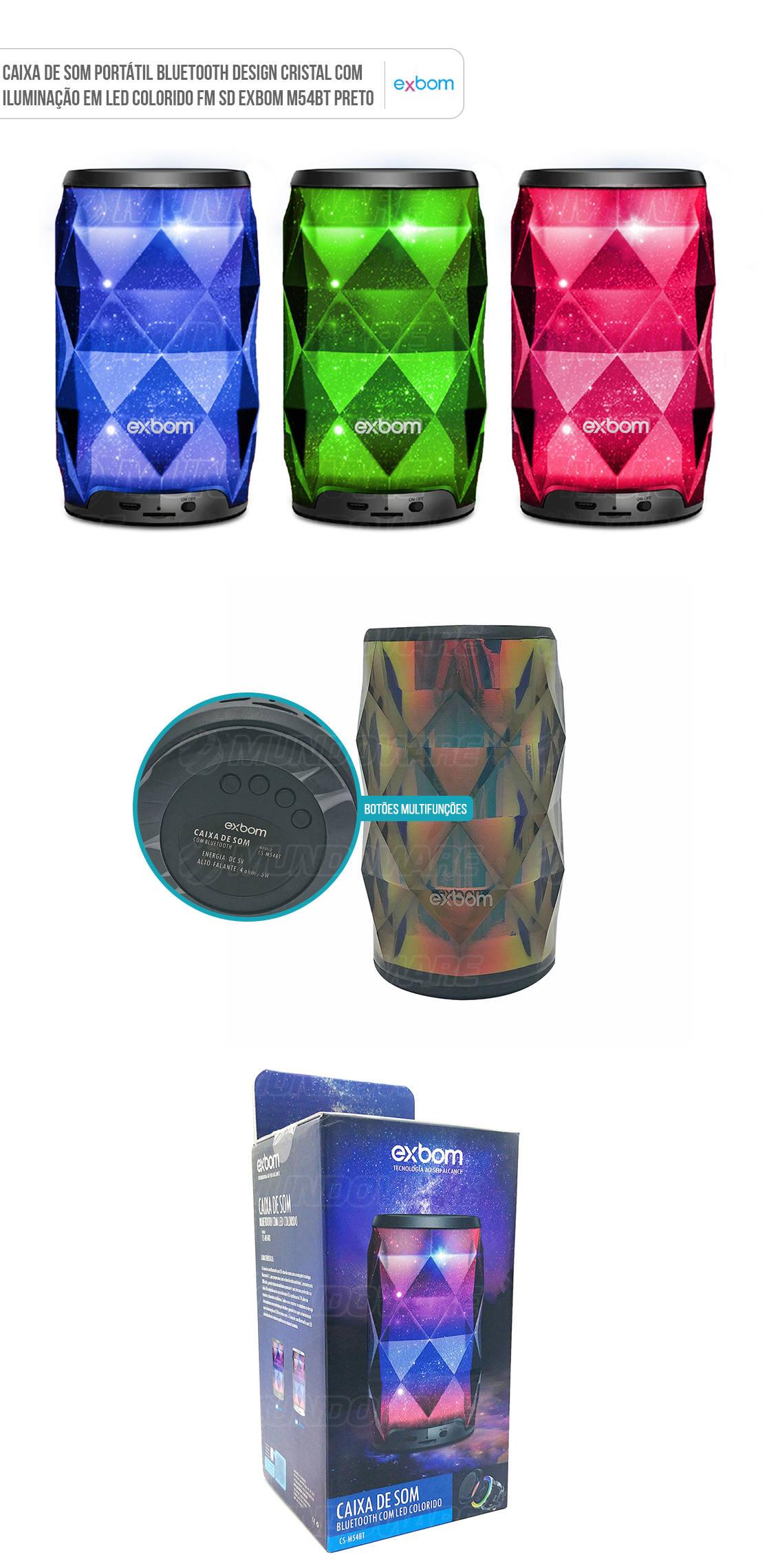 Caixa Portátil Bluetooth Design Cristal em LED Colorido RGB FM SD
