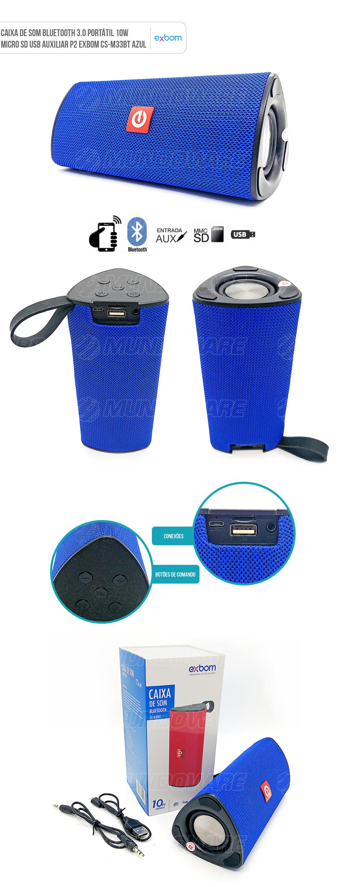 Caixa de Som Portátil 10W com Micro SD USB Bluetooth Azul