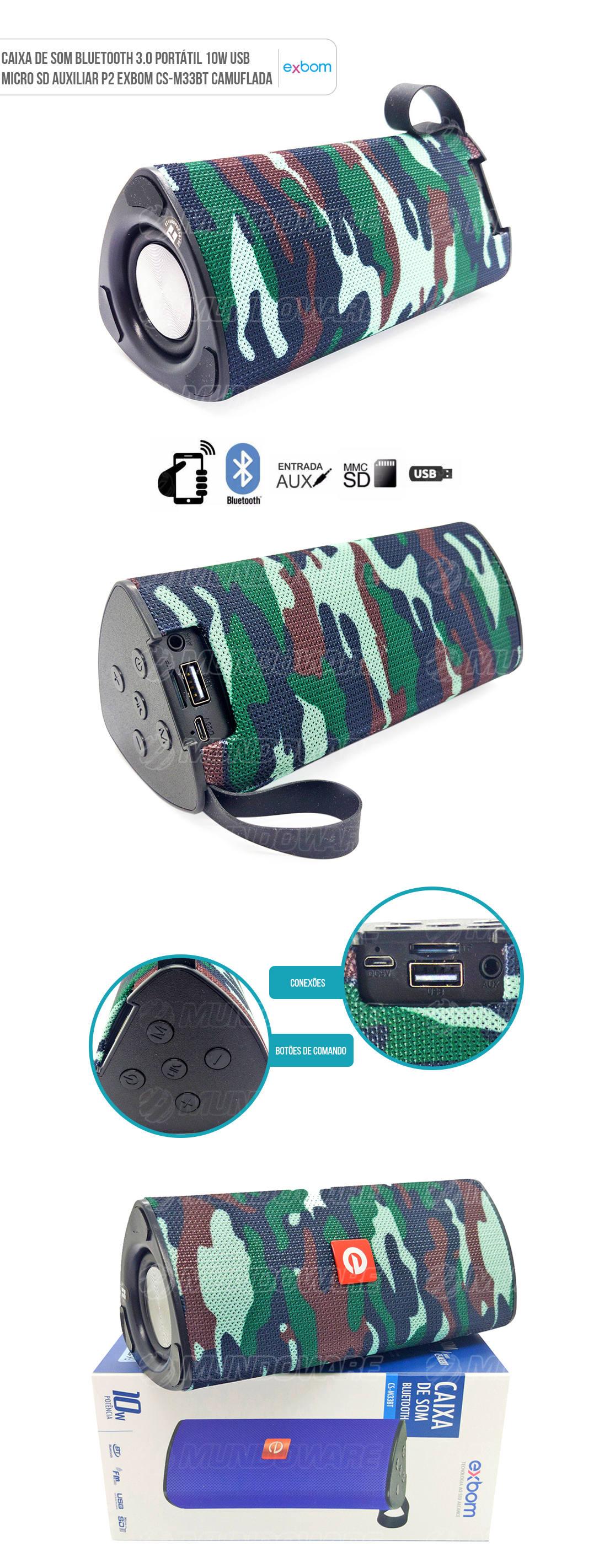 Caixa de Som Portátil 10W com Micro SD USB Bluetooth Camuflada