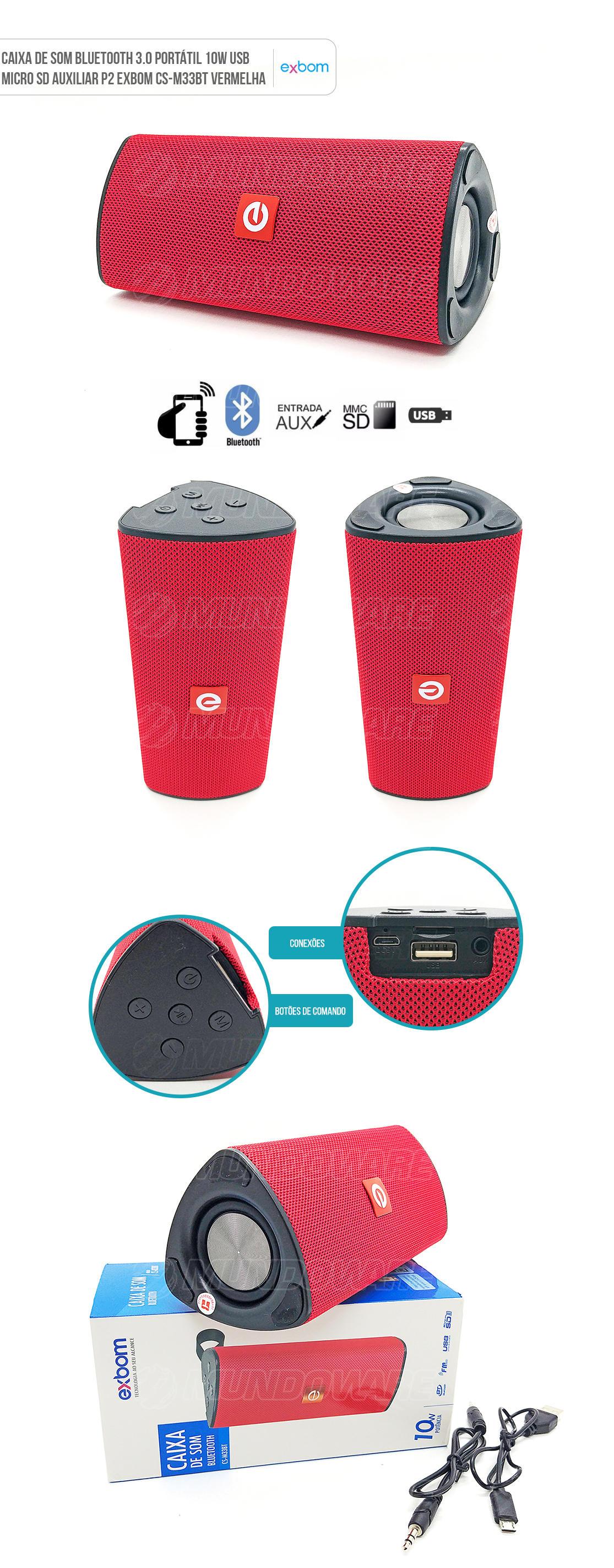 Caixa de Som Portátil 10W com Micro SD USB Bluetooth Vermelha