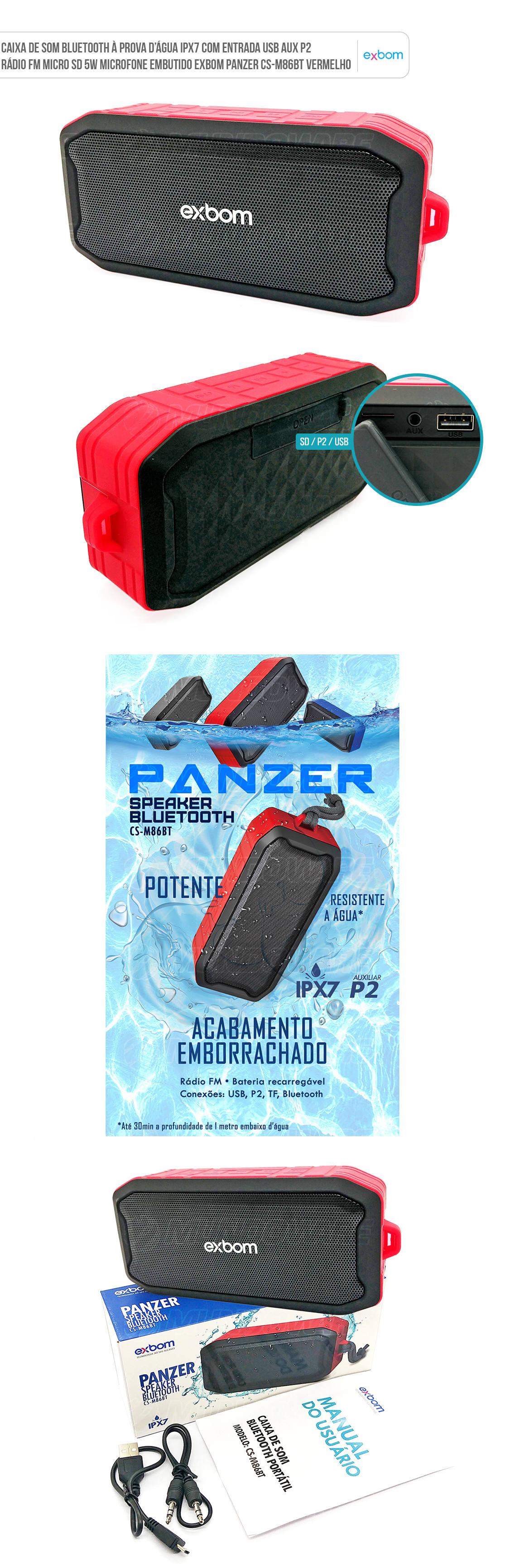 Caixa Portátil Bluetooth IPX7 a prova de água com acabamento emborrachado rádio fm usb cartão sd p2 auxiliar