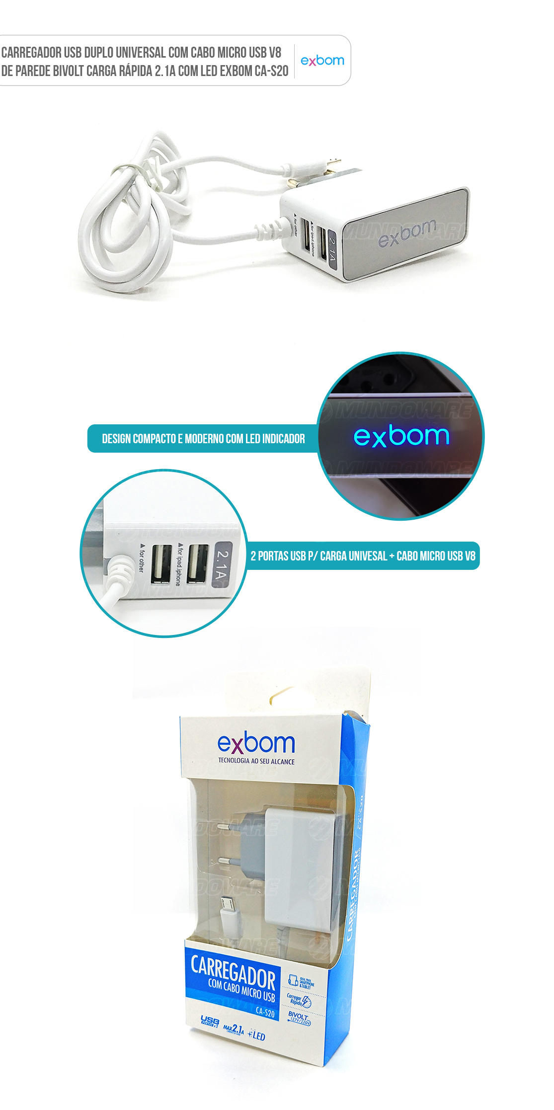 Carregador para Celular de Parede 2 Portas USB Carga Rápida Universal