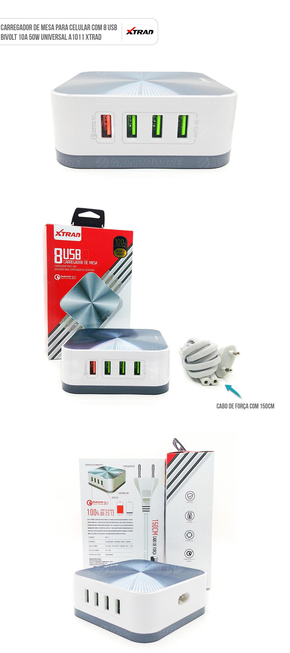 Carregador de Carro para Celular com USB Duplo universal e cabo micro usb v8