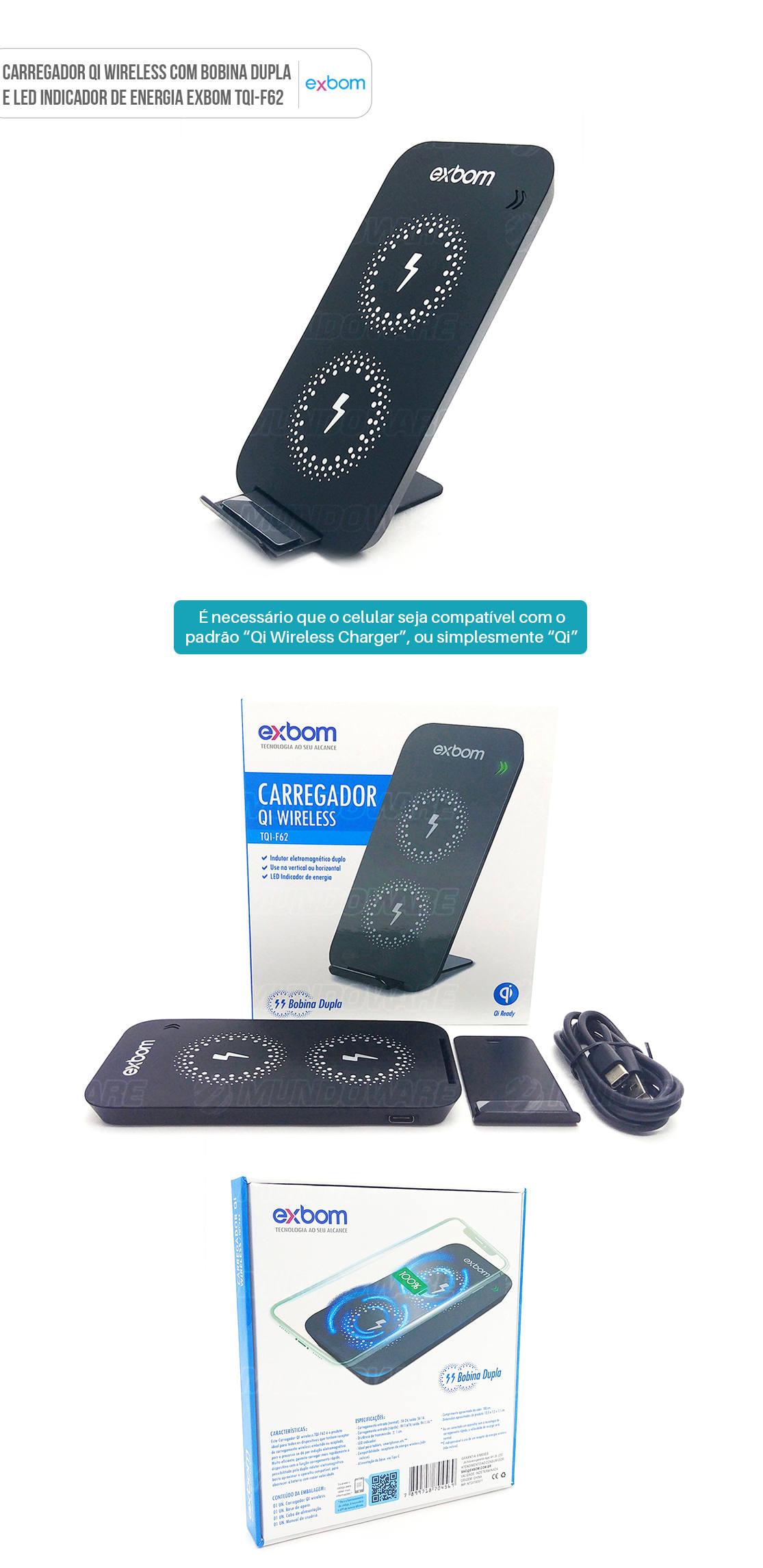 Carregador para celular Qi wireless com Bobina dupla posição vertical