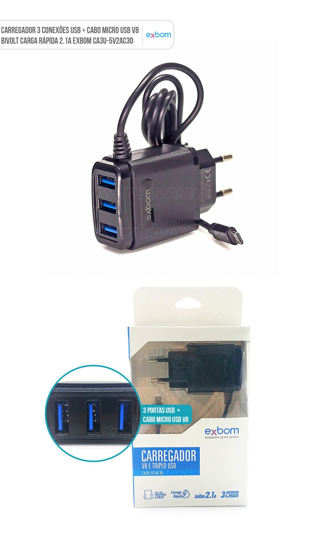 Carregador para Celular de Parede 3 Portas USB Carga Rápida Universal