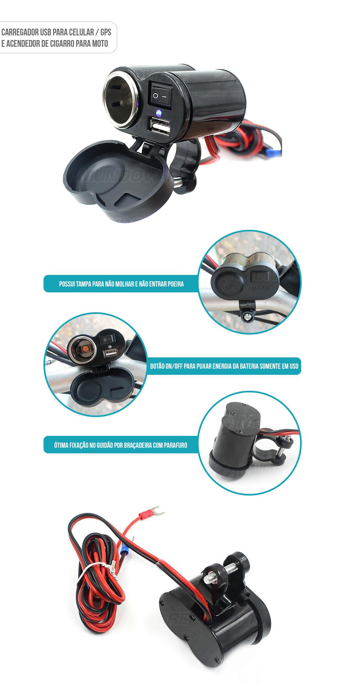 Carregador adaptador USB e acendedor de cigarro para Motocicleta
