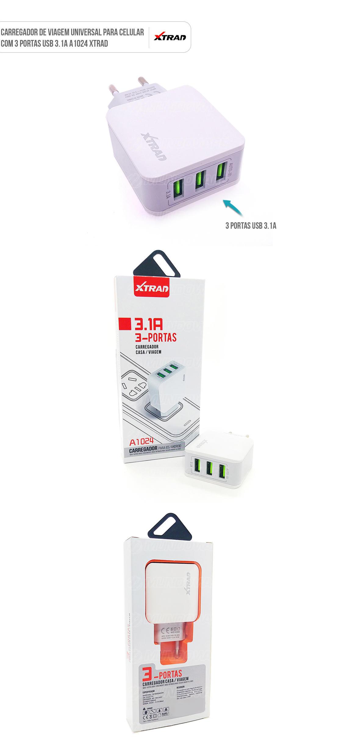 Carregador para Celular de tomada com USB Duplo universal e cabo microusb v8 com cores variadas