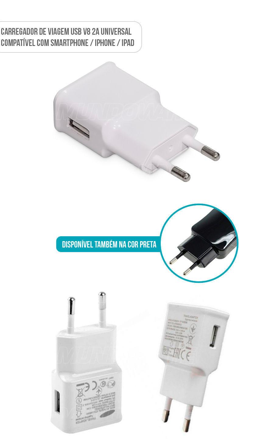 Carregadpr de Vigem 1 USB 2A Carregador Universal V8