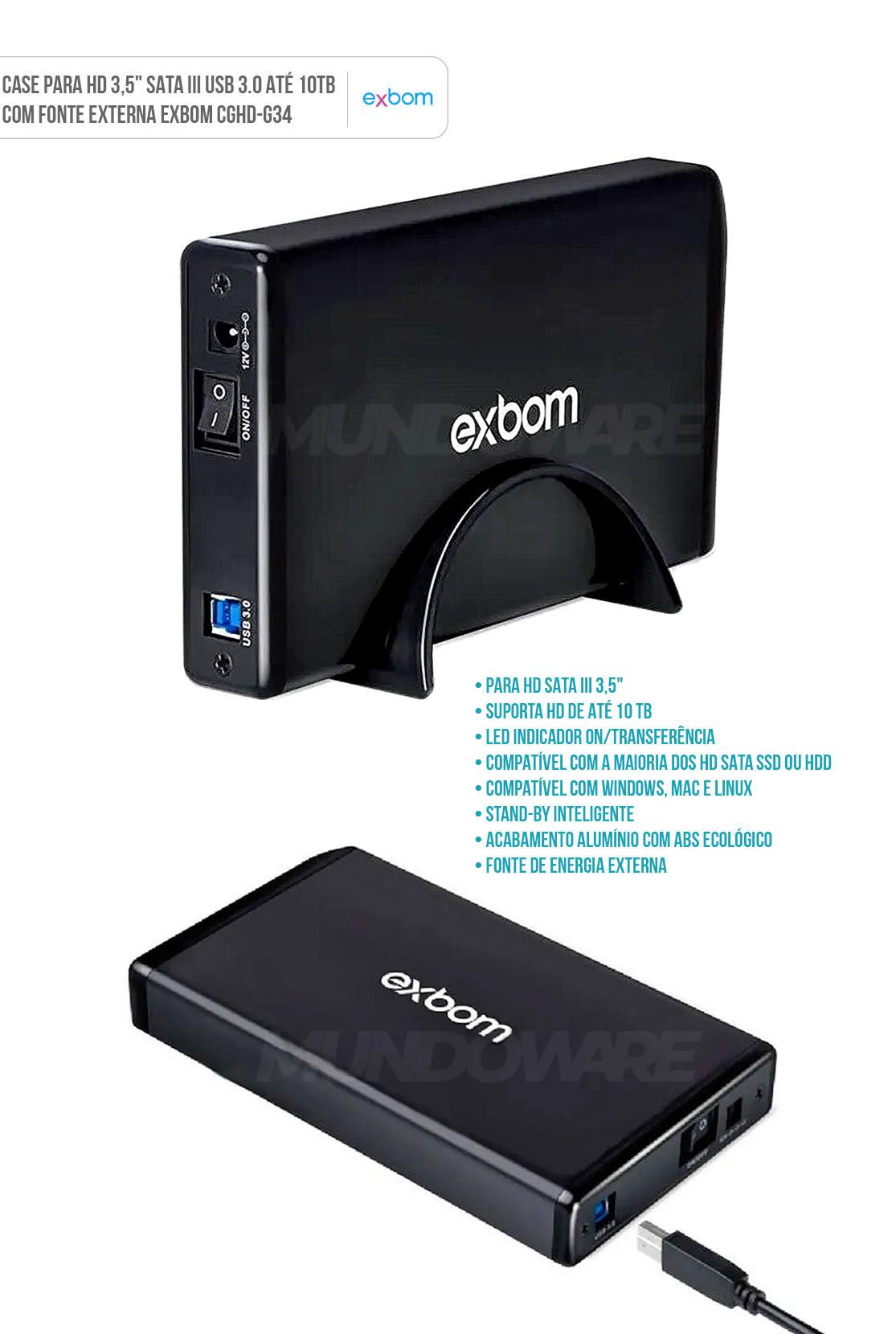 Case para HD 3.5 polegadas SATA III USB 3.0 até 10TB em Alumínio com Fonte Externa Exbom CGHD-G34
