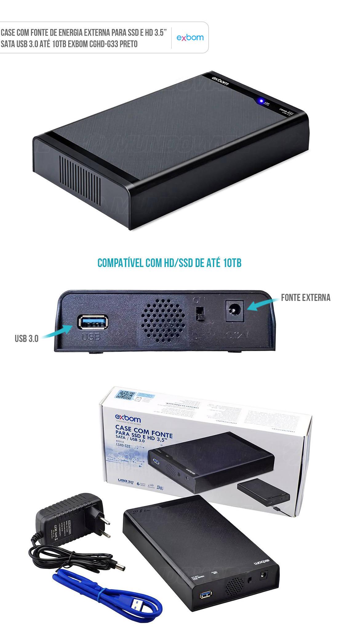 Case para SSD e HD 3.5 Polegadas SATA USB 3.0 com Fonte de Energia Exbom CGHD-G33 Preto