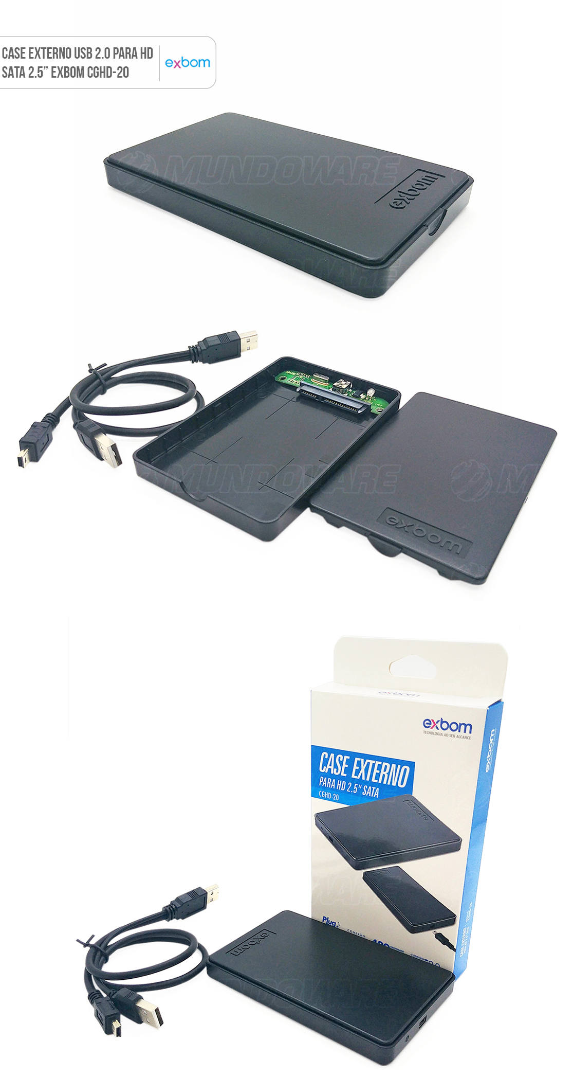 Case USB 2.0 para HD Externo SATA II em ABS compacto