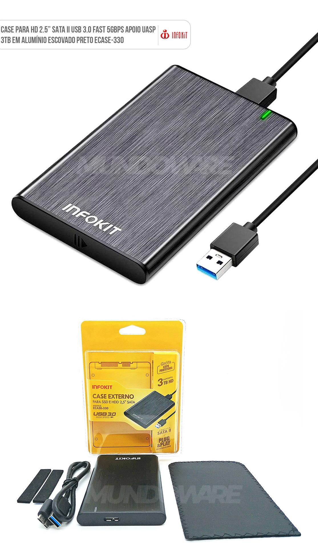Case USB 3.0 alumínio escovado para HD Externo SATA II Capa Protetora